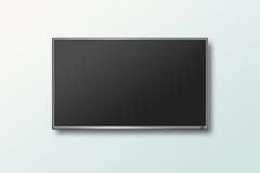 Affichage à cristaux liquides d'écran plat de TV sur le mur, illustration réaliste de plasma Image stock