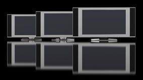 Affichage à cristaux liquides TV contre le noir Images stock