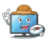 Affichage à cristaux liquides TV d'explorateur dans la forme de la mascotte illustration stock