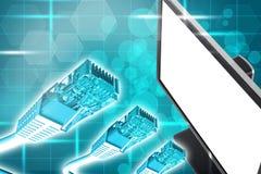 Affichage avec des câbles Image libre de droits