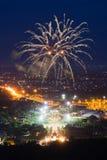 Affichage coloré de feux d'artifice chez Chiangmai Photo stock