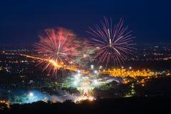 Affichage coloré de feux d'artifice chez Chiangmai Photographie stock