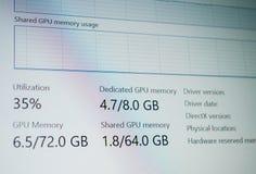 Affichage d'écran d'ordinateur avec la division de mesure fonctionnante consacrée de GPU Image stock