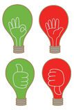 affichage d'ampoule comme le graphisme différent d'OK d'arrêt Photo libre de droits