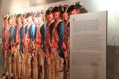 Affichage d'armée continentale, servant sous George Washington, musée de l'état de New-York et centre de recherche militaires de  Image stock
