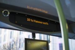 Affichage d'autobus de Londres Image stock