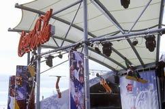 Affichage d'entreprise officiel de coca-cola de sponsor aux 2002 Jeux Olympiques d'hiver, Salt Lake City, UT Photographie stock libre de droits