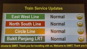 Affichage d'infos de souterrain de MRT de Singapour Photos stock