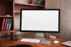 Affichage d'ordinateur avec l'écran blanc vide photo stock