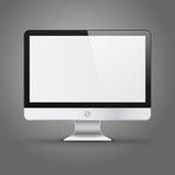 Affichage d'ordinateur moderne avec l'écran vide d'isolement Images libres de droits