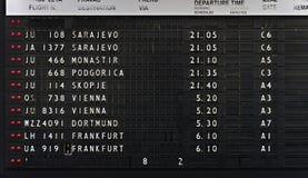 Affichage de depeartures d'aéroport Image stock