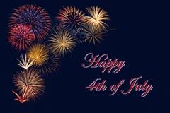 Affichage de fête de feux d'artifice pour le 4ème heureux de la célébration de juillet Image stock