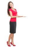 Affichage de femme/affichant la copie de produit Photographie stock libre de droits