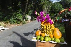 Affichage de fruit par la route, Seychelles Photo libre de droits