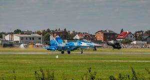Affichage de l'Ukrainien SU-27 pendant le salon de l'aéronautique 2013 de Radom photos libres de droits