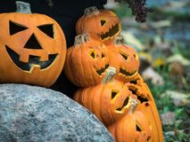 Affichage de lanterne de Jack O pour Halloween Photographie stock libre de droits