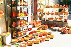Affichage de magasin de poterie images libres de droits