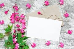Affichage de marquage à chaud créatif de moquerie jusqu'à vos illustrations carte de voeux vierge avec les fleurs roses avec les  Image libre de droits