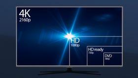 affichage de résolution de la télévision 4K avec la comparaison des résolutions 3d rendent Images stock