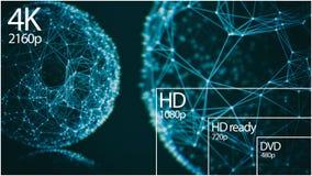 affichage de résolution de la télévision 4K avec la comparaison des résolutions 3d rendent illustration stock