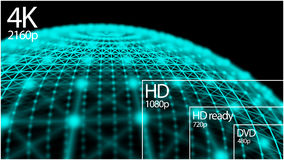 affichage de résolution de la télévision 4K avec la comparaison des résolutions 3d rendent Images libres de droits