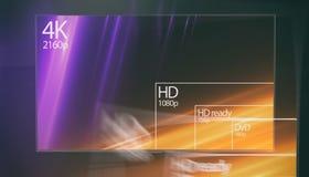 affichage de résolution de la télévision 4K avec la comparaison des résolutions 3d rendent Image libre de droits