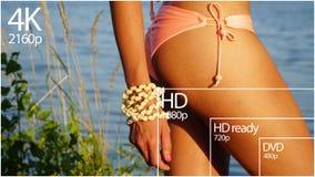 affichage de résolution de la télévision 4K avec la comparaison des résolutions 3d rendent Photographie stock