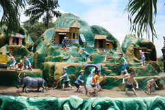 Affichage de tableaux des agriculteurs au parc à thème de villa de pair de baie d'aubépine à Singapour photos stock