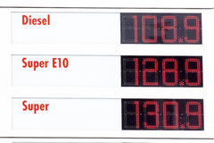 Affichage des prix à une station-service Photographie stock libre de droits