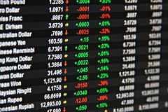 Affichage du taux de change sur le moniteur images stock