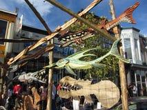 Affichage en bois de poissons Photo stock