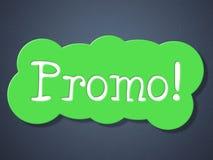 Affichage et vente au détail de remises de moyens de promo de signe Photo libre de droits
