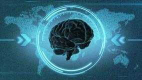 Affichage futuriste de HUD de cerveau Illustration de Vecteur