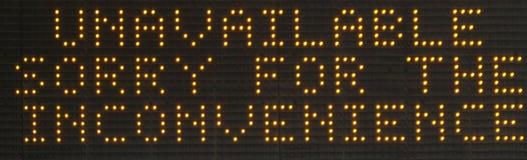 Affichage indisponible de signe de matrice de points du ` LED de ` photos libres de droits