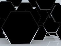 affichage noir abstrait blanc de cadre de l'hexagone 3D Images libres de droits