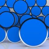 affichage rond bleu abstrait blanc du cadre 3D Images stock