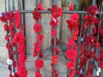 Affichage rouge de pavot en dehors d'une église image libre de droits