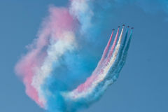 Affichage rouge Team Fairford Air Show RAF Airport d'avion de flèches Photo stock