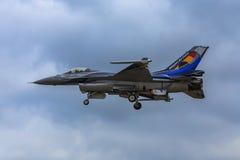 Affichage solo de la démo F-16 belge Images libres de droits