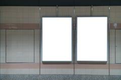 Affichage vide de bannière de promotion de LED sur le mur d'intérieur, advertisin photo libre de droits