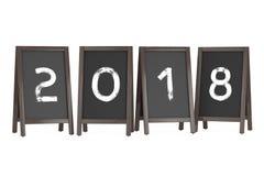 Affichages extérieurs de tableau noir en bois de menu avec le signe de 2018 ans 3d Photographie stock libre de droits