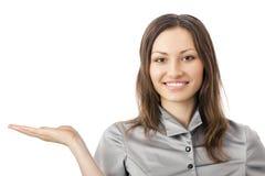 Affichant la femme d'affaires, sur le blanc photos libres de droits