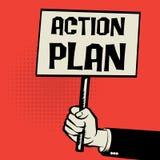 Affiche à disposition, plan d'action de concept d'affaires Photographie stock