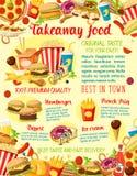Affiche à emporter de menu de restaurant d'aliments de préparation rapide de vecteur Photos libres de droits