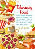 Affiche à emporter de repas de prêt-à-manger de vecteur Photo stock