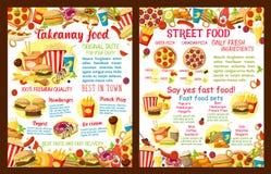 Affiche à emporter de restaurant de nourriture de rue de vecteur Illustration Libre de Droits