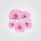 Affiche élégante de vecteur avec de belles fleurs - dahlia et endroit roses pour le texte Carte de voeux de cru Vecteur illustration stock