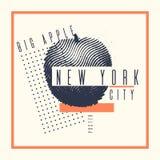 Affiche élégante New York grand Apple sur le fond abstrait Image stock