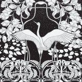 Affiche, achtergrond met decoratieve bloemen en vogel in Jugendstilstijl Zwart-witte grafiek N stock illustratie