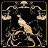 Affiche, achtergrond met decoratieve bloemen en vogels in Jugendstilstijl royalty-vrije illustratie